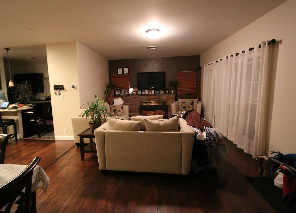 "(Shared Space) Family Room 50 ""inch HDTV and Fire Place"