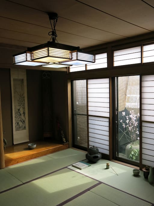 Your tatami mat room which doubles as twin bedroom with futons