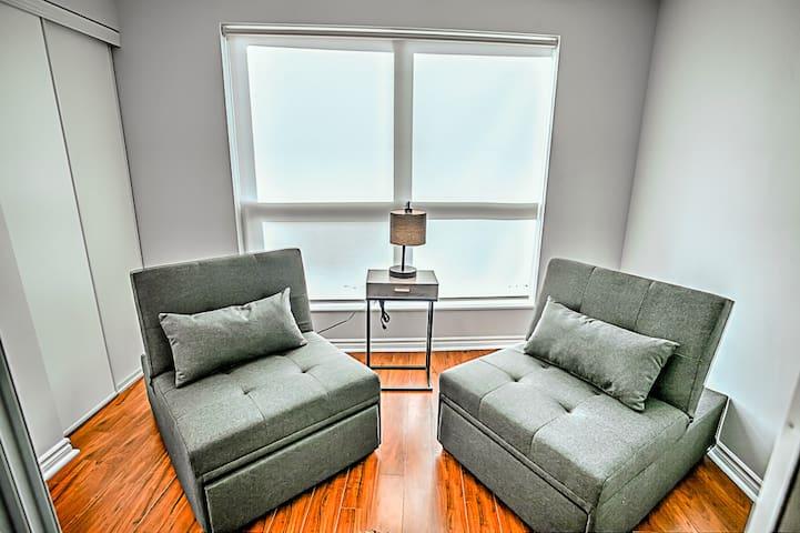 - Two comfortable sofa-beds - +20 floor view
