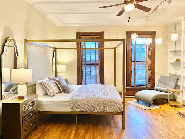 Expertly curated Master Bedroom w/ King Bed.