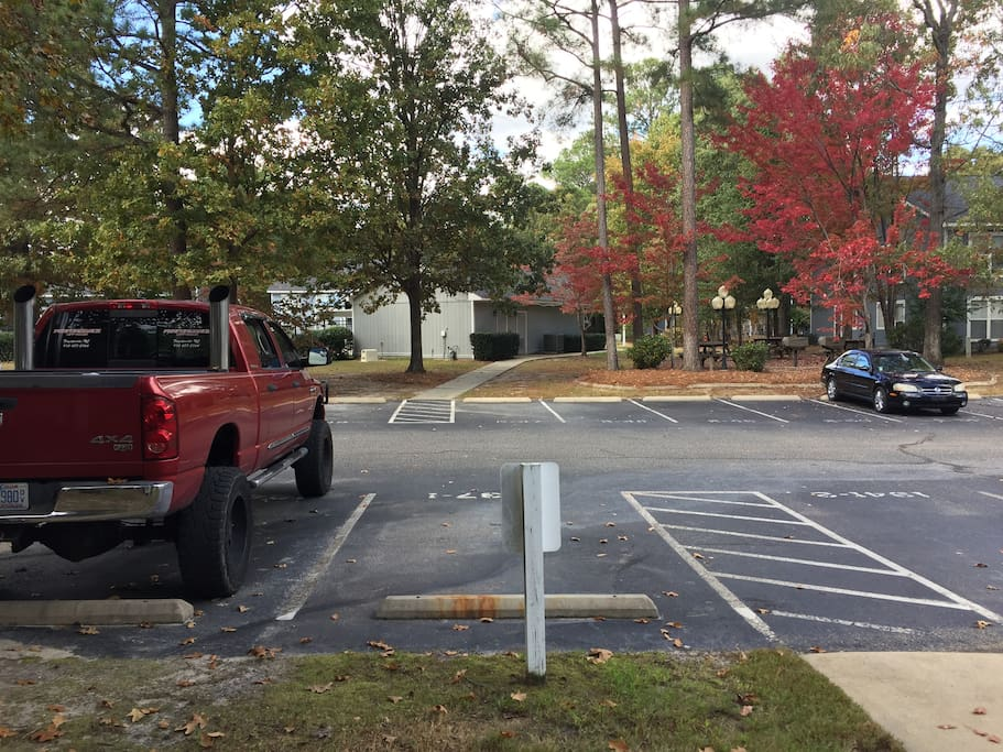 Parking is where the red truck is. Grills, picnic tables, and Clubhouse is  right across the street.