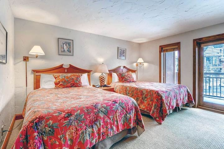 Village view lodge with ski-in/ski-out access and shared  pool and hot tubs