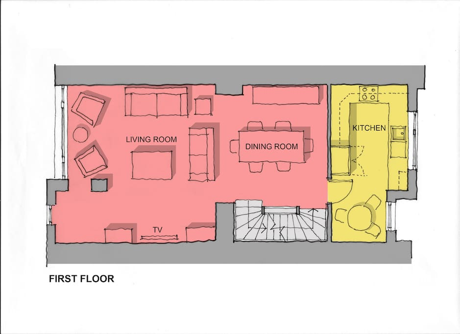 First Floor plan (kitchen, dining and living room)