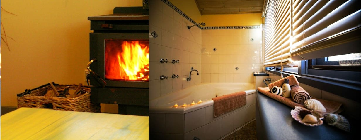 Jaccuzzi spa bath and wood fires
