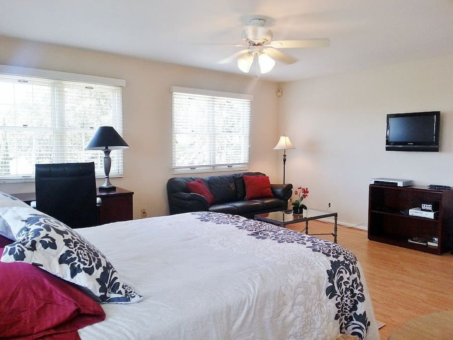 Large bedroom with big flat screen TV,couch, desk & dresser