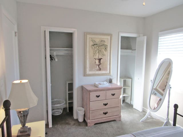 Master bedroom with double closets and standing mirror