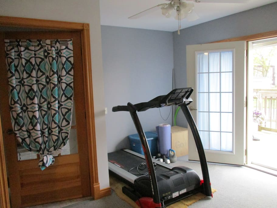 treadmill, yoga mat, kettlebell, weights, step up and more! Carpet and overhead fan