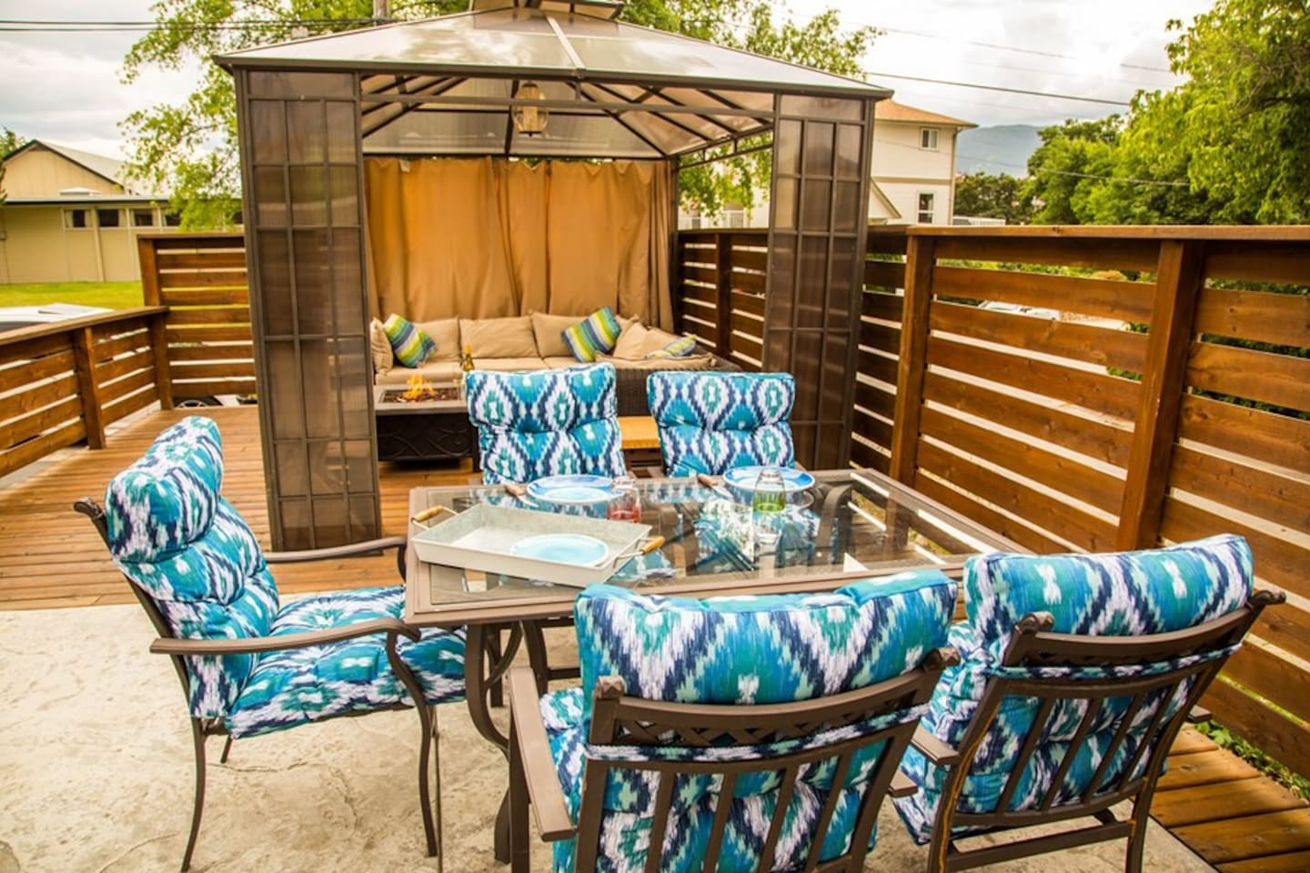 Large outdoor dining and seating area.  BBQ is ready for anything you like to grill up!  Sit here and enjoy the Okanagan lifestyle relaxing after a full day of beaches, trails or wine touring.