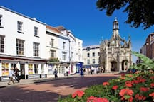 Chichester city centre, a few minutes walk from house.