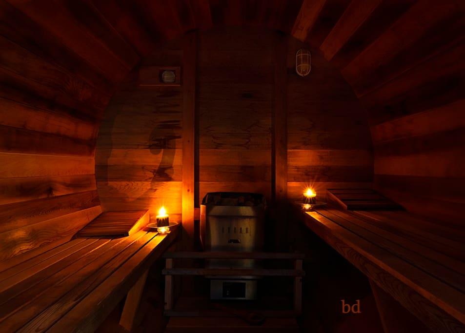 We have access to a cedar barrel sauna.