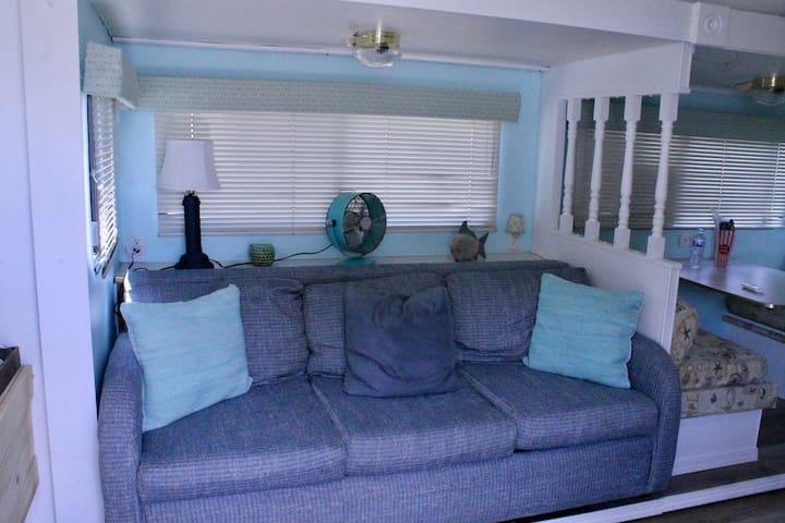 Comfy, cozy trailer.