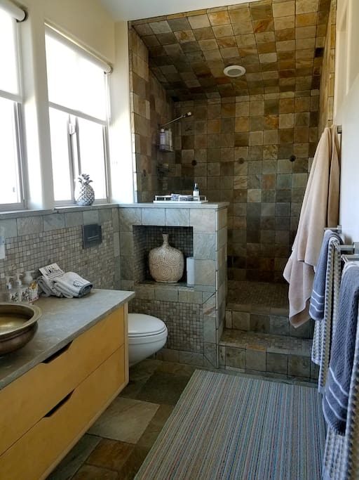 Gorgeous walk in bathroom and shower.