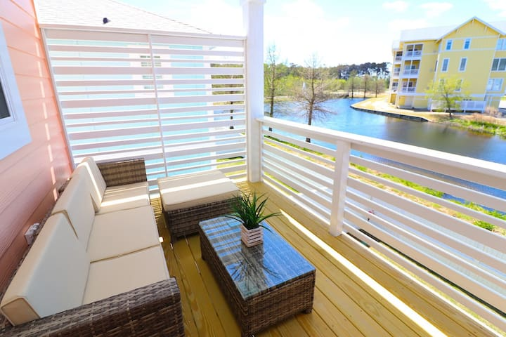 Balcony with Pond Views