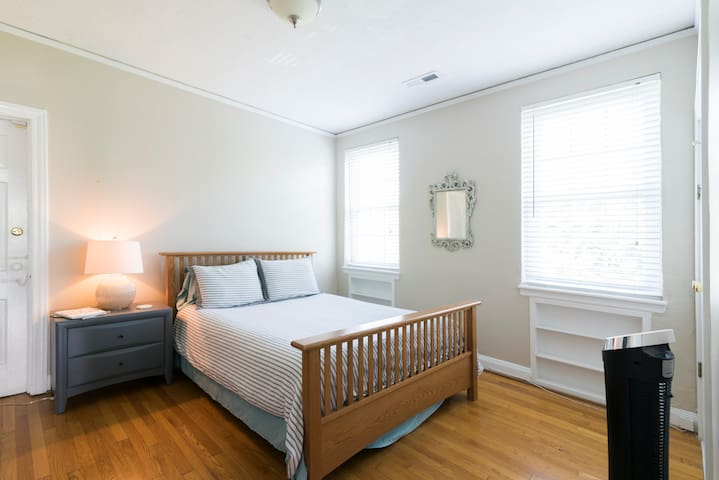 Master bedroom with Queen memory foam mattress.  Equipped with TV with Firestick for access to your personal streaming accounts.