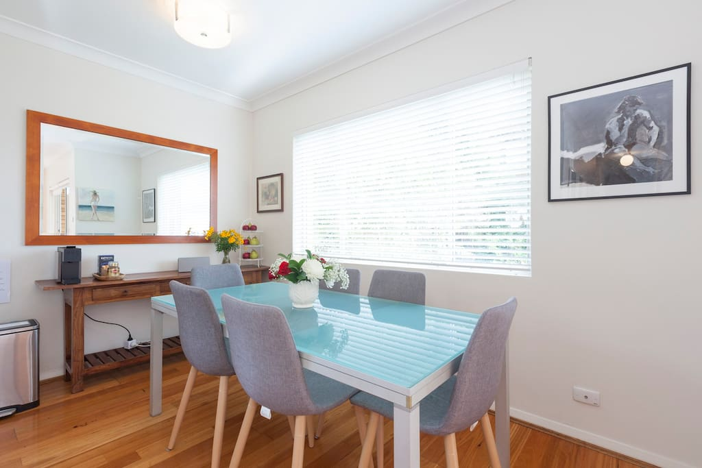Dining table and chairs that easily sit 6 people.