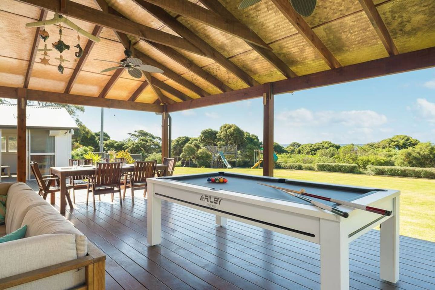 Deck with pool table