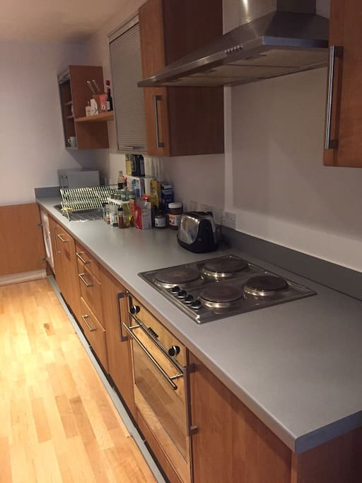 The kitchen is equipped with all necessary items: cooker, stove, refrigerator and freezer, dish washer, laundry washing machine, microwave