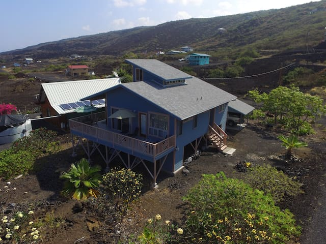 Blue House Arial View