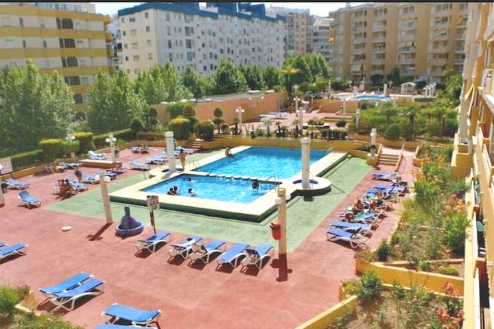 Easy access to the pool area, beautiful garden, pool for kids and adults.