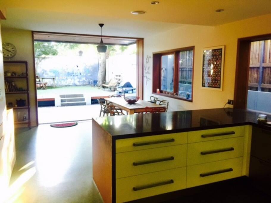 Kitchen / dining room to garden