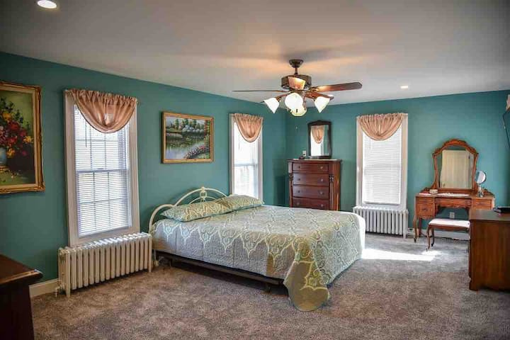 Master bedroom with King size bed.  This bedroom has river views.