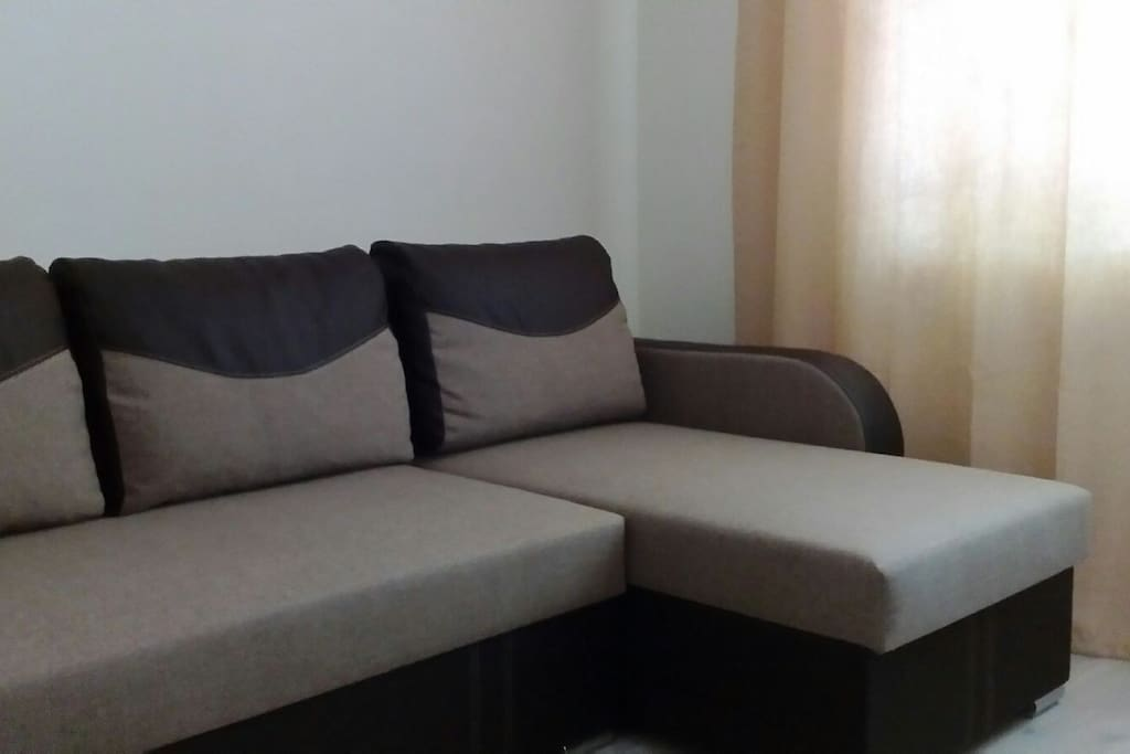 Sofa bed, opens up to a large double bed