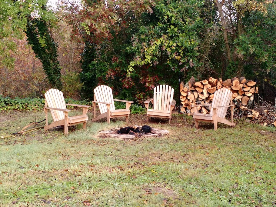 This fire pit and seating area are perfect for roasting s'mores! (Note: Guests are welcome to use any firewood found onsite but it's not guaranteed to be provided.)