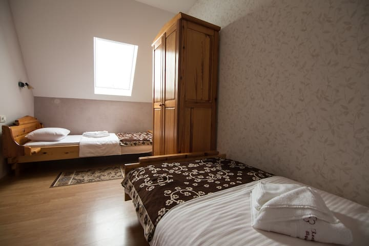Bedroom 3 with two sigle beds and wardrobe.