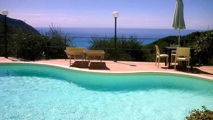 Alloggio con piscina e vista mare Moneglia-5terre