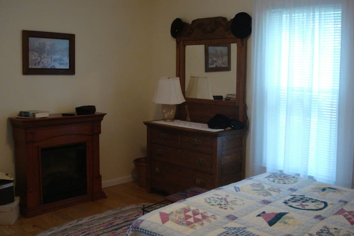 Bedroom with fireplace and queen bed