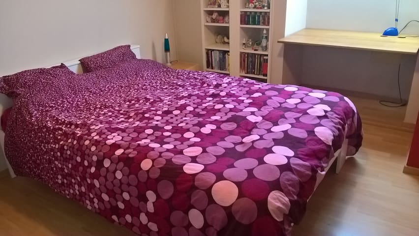 Room 2 with double bed, tv, dressing
