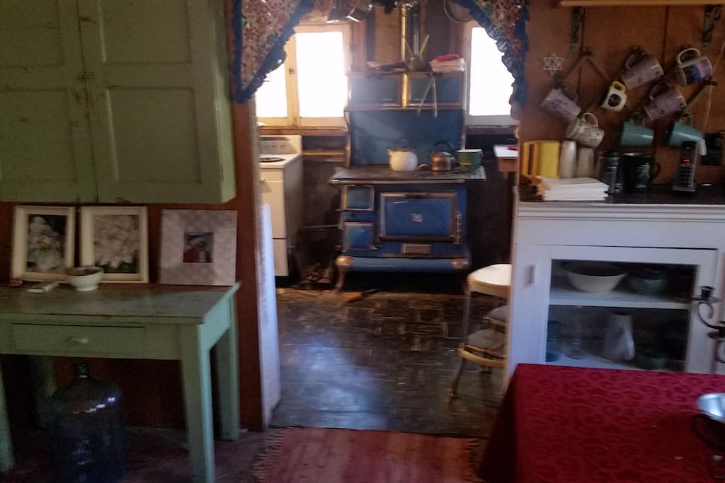 Kitchen with wood burning stove, great in the winter