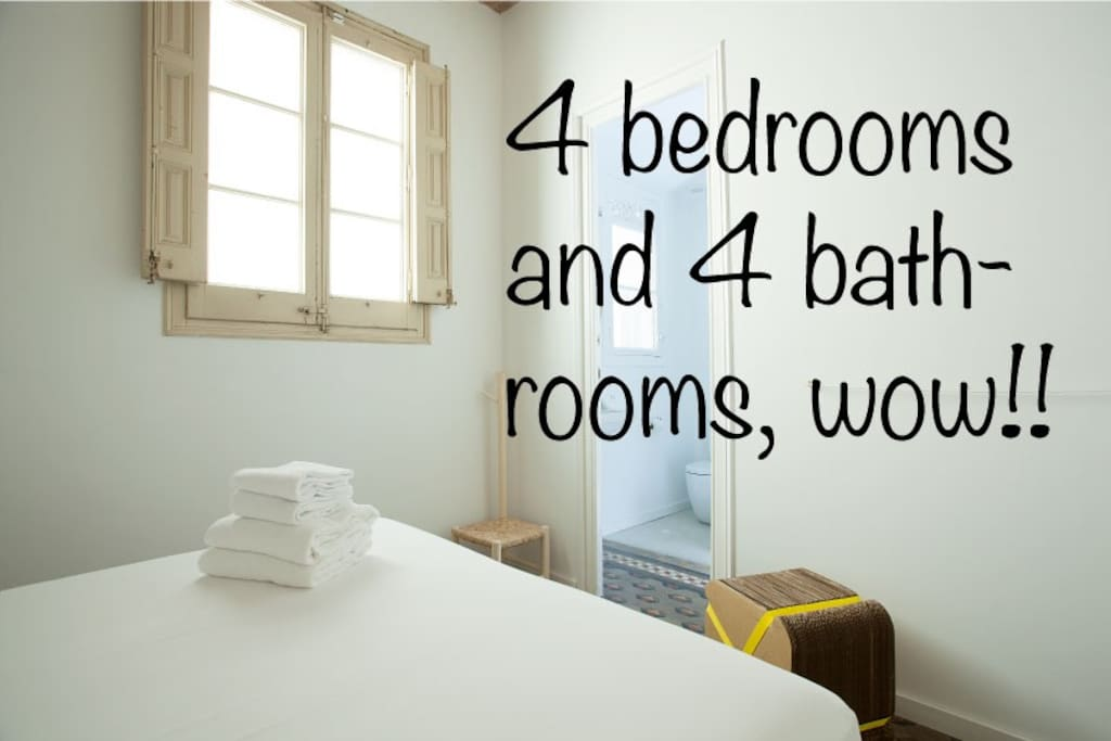 4 double bedrooms, each with ensuite bathroom!