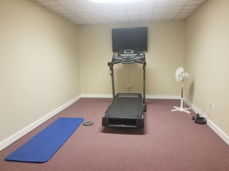 Access to treadmill and DVD player with P90X videos