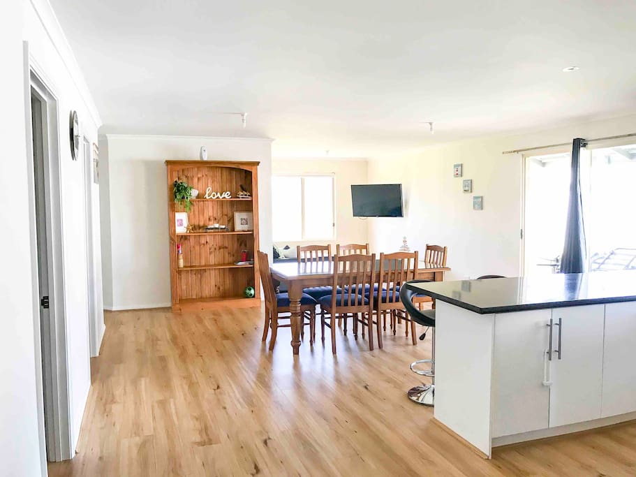 open plan Kitchen, dining, family room