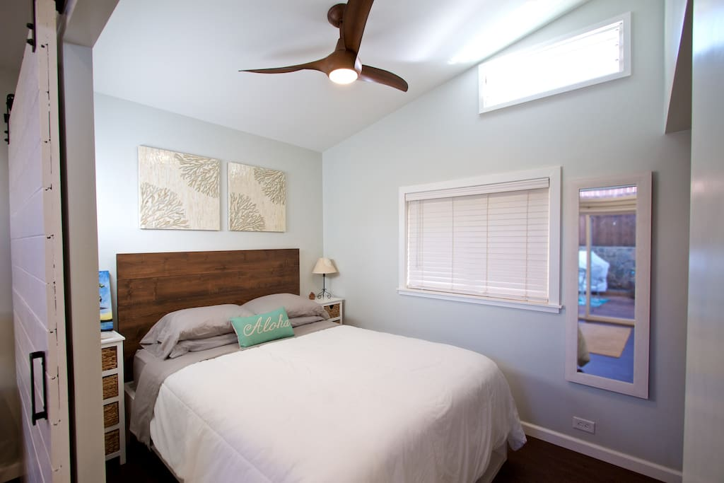 Bedroom has a queen size bed, ceiling fan, mirror and closet.