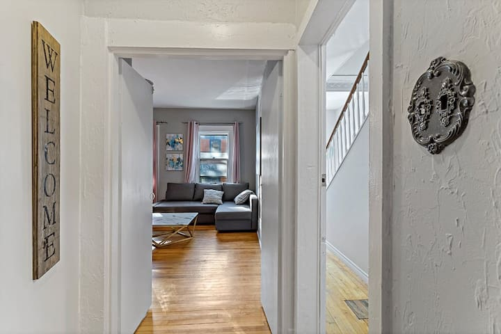 Entry into Living room.  Couch pulls out into a Queen size sofa bed.  Doors for added privacy