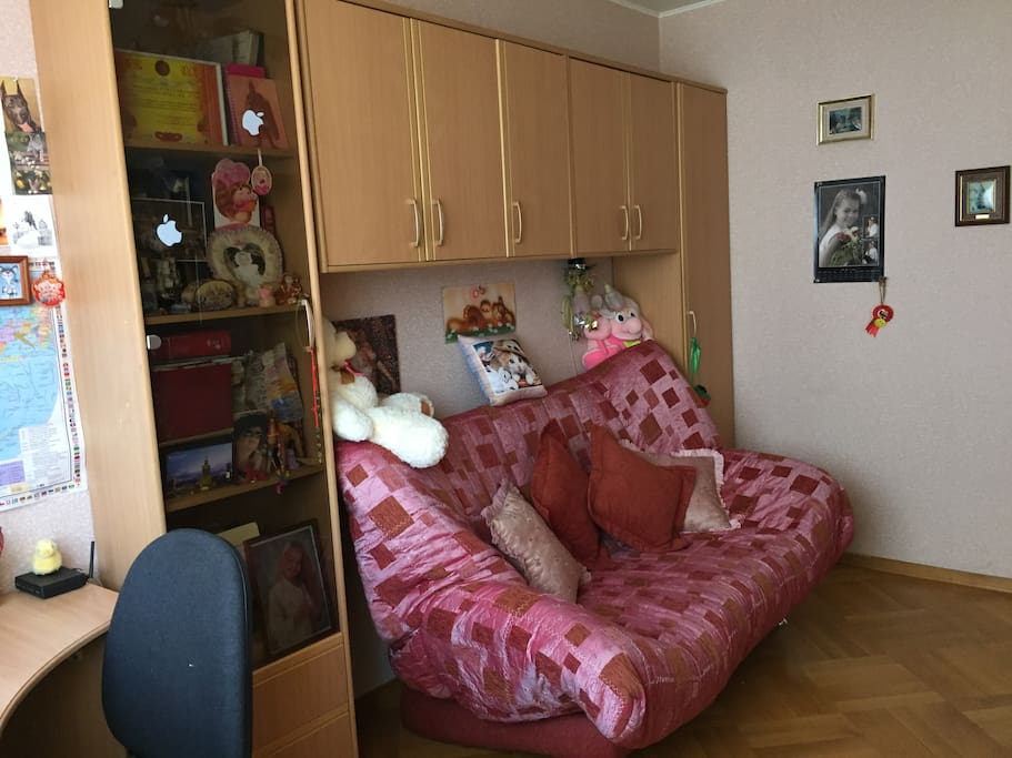 комната 15 кв. метров, раскладной диван