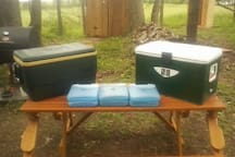 two coolers with frozen ice packs provided