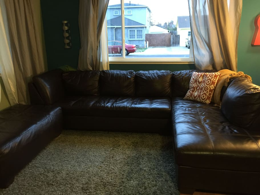 Comfy, spacious leather couch