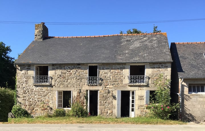 Typical Breton 17th century farmhouse with garden