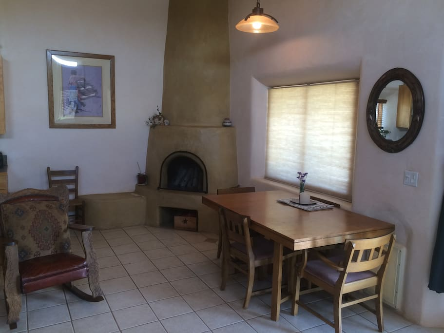 fireplace and dinning room