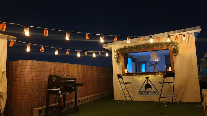 [OPEN] #캠프탑# Rooftop camping & BBQ party 합정역 3분