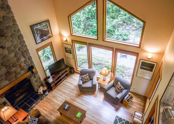 Family spring vacations at the Salmonberry Retreat with a fireplace, hot tub, dog-friendly