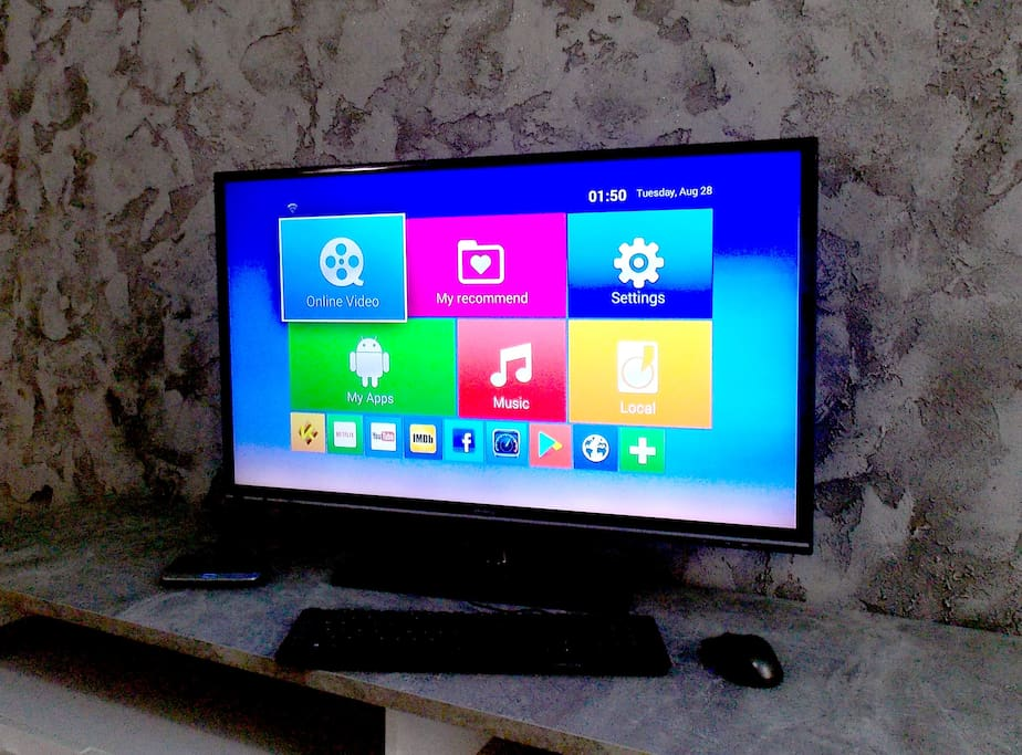 huge tv with android smart tv box