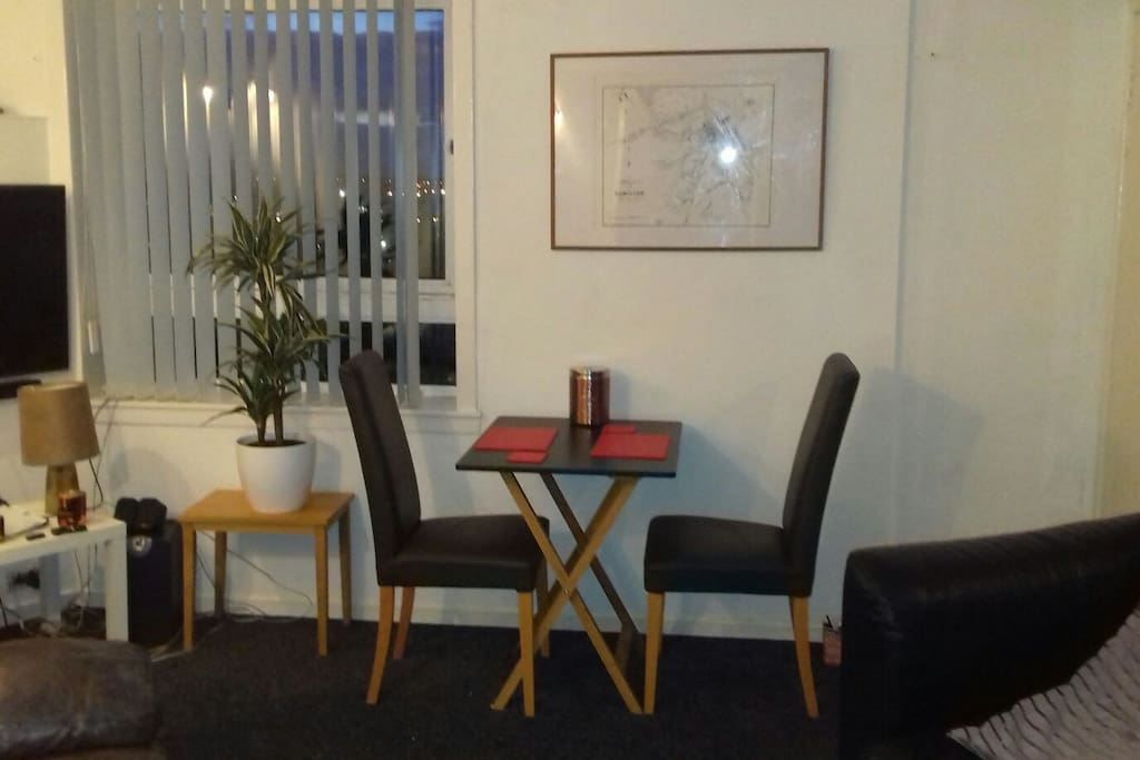 Small table for 2 but also have extendable 4 seater table as pictured in previous caption,with 4 chairs to match.