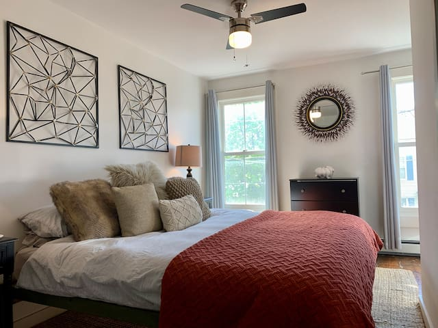 The king bedroom is the perfect place to unwind after a day of being out and about.