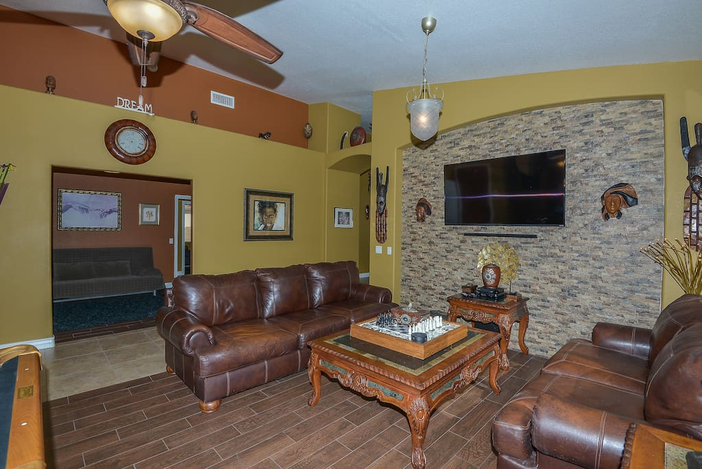"""Family Room with 60"""" TV with a Sound Bar and Internet Access"""