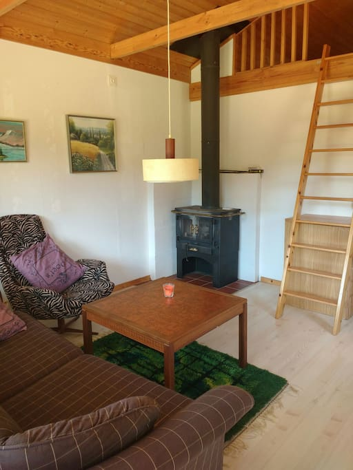 sitting area with chimney