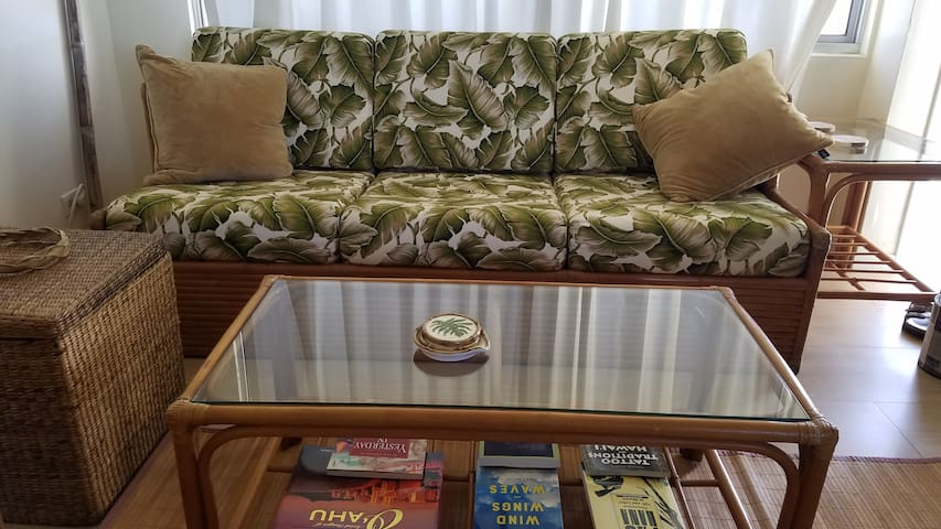Rattan Couch and table